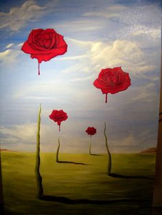 "NOT by Dali, this painting appears on thousands of boards misattributed to Dali. It is ""The Bleeding Roses"" by zach84: http://zach84.deviantart.com/art/The-Bleeding-Roses-31945252"