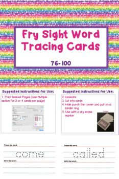 These Fry sight word tracing cards can be used to help students learn how to spell their sight words. After printing, laminating and cutting them into small cards, the cards can be hole punched and put on a binder ring. To help students learn their sight words, encourage them to spell each word out loud as they trace and write them.