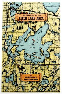 Leech Lake Minnesota Vacationland Postcard
