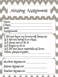 Missing Homework Form