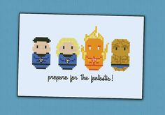 This is a parody, an inspirational cross stitch pattern of the Comic Fantastic Four    CROSS STITCH CROSS STITCH PATTERN DETAILS:  Stitches: 70x41