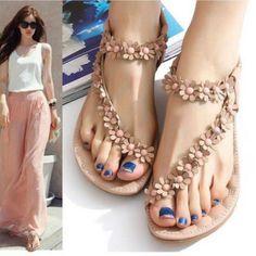 Bohemia Ladies Flat Heels Clip Toe Roman Sandals Shoes Gladiator Sizes Np #ebay #Fashion