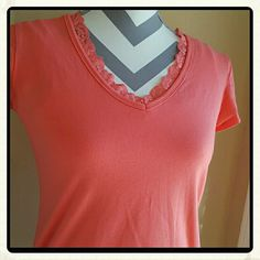Peach Tee Cute Top, Lace trim. Little to no wear. Real cute casual or dress up for work under a classy jacket  Made in the USA Necessities Tops Tees - Short Sleeve