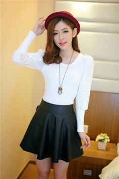 faux leather circle skirt $11