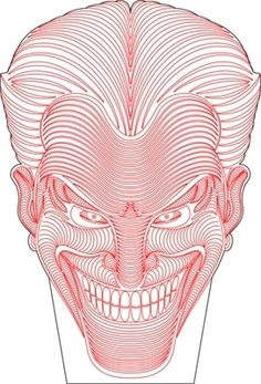 Joker face 3D illusion vector drawing