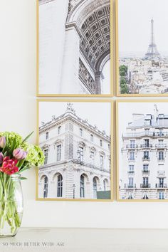 Download these Paris buildings wall art for free just in time for spring! | So Much Better with Age | A few months ago I shared these Paris buildings but covered with snow flakes. I took the photos the last time I was in Paris and you loved them so much! I had many requests to do them for spring to create a lovely wall gallery above the fireplace. #paris #wallart