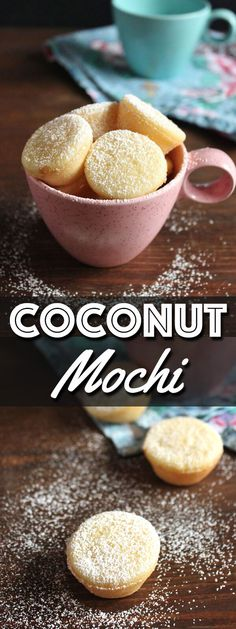 Coconut Mochi are chewy little treats made with sweet rice flour and coconut milk. They are similar to the Hawaiian butter mochi but lighter in flavor. Sweet Rice Flour Recipe, Rice Flour Recipes, Coconut Recipes, Baking Recipes, Asian Desserts, Easy Desserts, Delicious Desserts, Dessert Recipes, Yummy Food