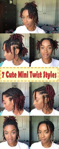 Looking for new ways to style your mini twists try these 7 easy styles protectivestyles 7 quick and easy styles you can do with your mini twists minitwiststyles naturaltwiststyles twiststyles minitwists shortnaturalhair naturalblackhair protective style Cabelo Natural 4c, Natural Hair Braids, Natural Hair Care, Short Twists Natural Hair, How To Cornrow Hair, Short Natural Black Hair, Short Hair Twist Out, My Hairstyle, Girl Hairstyles