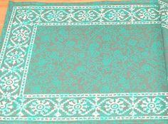 Handmade Cotton Floral Bouquet Filigree Placemat Table Linen Greens Rectangular