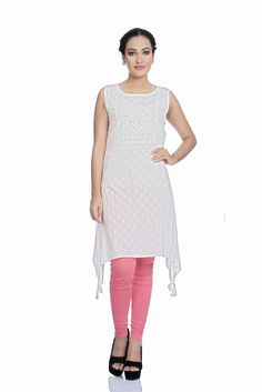 4c83f8e94f8 Ethnic and Beyond Women's Lucknowi Chikankari kurti/kurta White Aari  Embroidered Chikan Work Allover front and floral back Pure Cotton Straight…