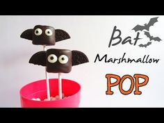 [Halloween Recipe 萬聖節食譜] How to make Bat Marshmallow Pop 蝙蝠棉花糖棒 - YouTube
