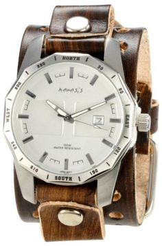 Nemesis Men's BVT027S Signature Stainless Steel Round Silver Dial Leather Cuff Watch Nemesis. $64.99. Mineral crystal, luminous hands. Water-resistant to 330 feet (100 M). Stainless steel case with genuine wide leather strap. Precise Japan Quartz movement. Case diameter: 42.00 mm