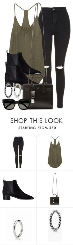 """""""Style #10342"""" by vany-alvarado ❤ liked on Polyvore featuring Topshop, Enza Costa, Acne Studios, Yves Saint Laurent and Pandora"""