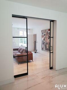 Interior Pocket Doors, Bungalow Living Rooms, Room Doors, Windows And Doors, Living Place, New Homes, Interior Design, Plywood Floors, Wood Flooring