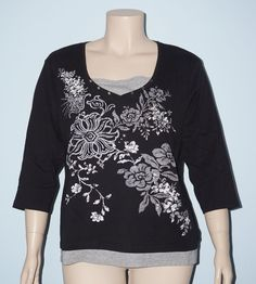 Coldwater Creek Black & Gray Floral 3/4 Sleeve Layered Knit Top Tee Shirt Sz. 3x #ColdwaterCreek #KnitTop