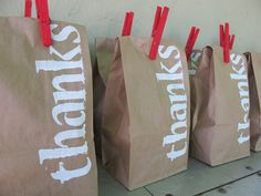 """I like the idea of """"thank you"""" bags, rather than """"goodie bags.""""  Small shift, but way better perspective...especially if the birthday boy/girl gets involved in making them."""