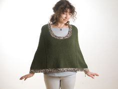 Knitted wool green cape by salcie on Etsy