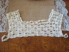 Vintage 1920s Cream Crochet Collar Camisole by SofiasCobwebMuseum