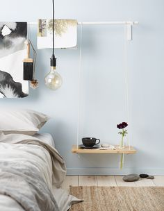 Tired of traditional bedside tables and nightstands? Check out these three DIY bedside table ideas and see if one works for your sleepytime space. Ikea Bedroom, Small Room Bedroom, Trendy Bedroom, Small Rooms, Small Spaces, Bedroom Decor, Bedroom Ideas, Modern Bedroom, Warm Bedroom