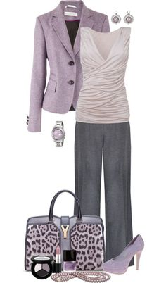 Fashion - Work Outfit ( shirt, blazer, bag, shoes, nail polish, watch, earrings )