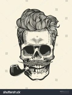Skull. Hipster skull silhouette with mustache, beard, and tobacco pipes. Sticker that represents skull character. Vector illustration in vintage engraving style. Perfect for t-shirt print.