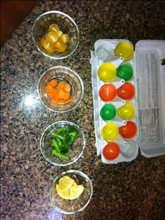 I love these tips for learning about food without eating. I especially like this egg carton color matching activity!