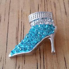 1 - Light Blue  & Clear Rhinestones High Heel Boot Shoe - Snap Charm - 18mm - Charm Chunk - Noosa - Silver Trim by GailsGiftHut on Etsy