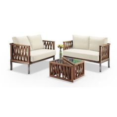 Zen Better Living Modern Triangle 4 Piece Seating Group with Cushion