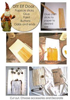 Make an elf door from popsicle sticks.