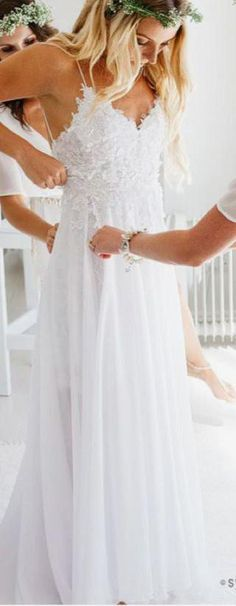 Spaghetti Strap Wedding Dress,V-neck White Chiffon Wedding Gown,Lace Appliqued Summer Beach Wedding Dresses,Bridal Dress from simibridaldresses