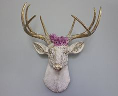 Faux Taxidermy Deer Head Stag Buck Wall Decor Vintage White Brass Rustic Log Cabin Trophy Animal Ant