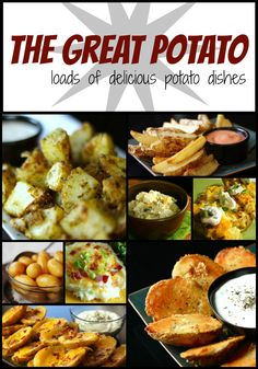 You are going to love these potato recipes, especially through the fall and winter- perfect for a fancy dinner, party, or football game! Recipes include Pesto Potatoes, Potato Wedges, and Cheesy Potato Skins.