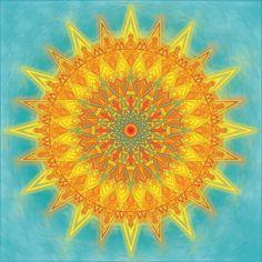 Summer Solstice Mandala by Megan Manske Mandalas Painting, Mandalas Drawing, Sun Mandala, Mandala Art, Art Soleil, Summer And Winter Solstice, Universe Love, Good Day Sunshine, Solis