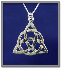 """Triquetra Pendant - This design has recently been made popular by the TV show """"Charmed"""", where it appears on the cover of the Book of Shadows. Approximately 1""""+ high. Includes 18"""" Sterling Silver chain."""