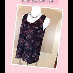 Sleeveless print top Cute top with a gathered scoop neck and small button detail. Pink and grey print in 100% poly. Worn twice, perfect condition. Looks great with pale pink cardigan in another listing. Ann Taylor Tops Blouses
