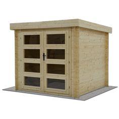 L'abri de jardin en bois HANKO offre une surface utile de 4.2 m². Cet abri est très lumineux grâce à sa double porte vitrée ( L 171 x H 178 cm). Très contemporain avec son toit plat, HANKO est construit en madriers de 19 mm. La hauteur sous faitage est de 2.26 m, celle des murs de 2.17 m. Design contemporain avec son toit plat. Bois FSC. Madriers de 19 mm
