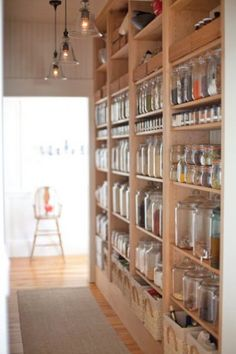 Mason jar storage on shallow shelves - I like that you can really see all that you have so that nothing gets wasted.