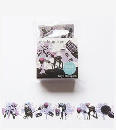 Chocolate - Kayo Horaguchi - Japanese Washi Paper Masking Tape - Scrapbooking, Deco Collage, Gift Wrapping Sticker - Purple Animal Motif - JapanLovelyCrafts
