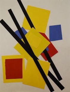 Adventures of an Art Teacher: Mondrian-Inspired Paper Pictures Piet Mondrian, Mondrian Dress, Kindergarten Art Lessons, Art Lessons Elementary, Mondrian Art Projects, Montessori Art, Montessori Elementary, Ecole Art, Preschool Art