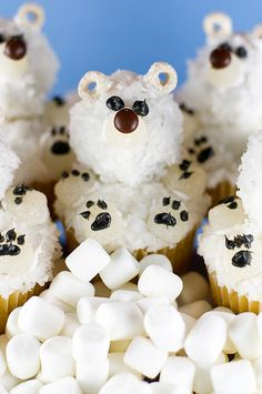 polar bear cupcakes. Need to be made, my preschoolers would love them.