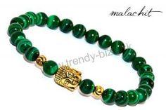BUDDHA náramok gold malachit Buddha, Malachite, Beaded Bracelets, Gold, Stones, Jewelry, Necklaces, Rocks, Jewlery