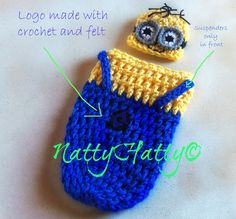 Despicable Me Minion For boy  Crochet Hat, cocoon and bow, Minion Halloween costume, Despicable me minion baby costume