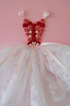 Princess Dress wall art in pink and white. 9X12 canvas. by FlorasShop on Etsy