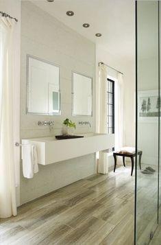 floating trough sink & wood floors