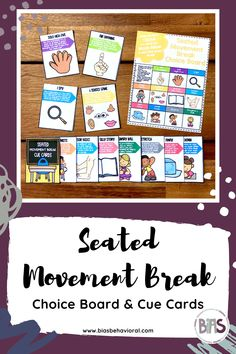 The SEATED MOVEMENT BREAK CARDS edition features a variety of seated movement exercises that children can use while on a mask break or as a general strategy for getting out their wiggles. Each card contains an easy-to-follow description for the strategy provided. Use these cue cards in a break area, Zen Den, or sensory bin. The choice board included with this resource can be used as a menu both in-person or virtually through screen share.