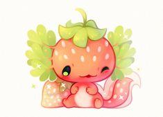 A little strawberry axolotl! ✨ A little strawberry axolotl! Cute Kawaii Animals, Cute Animal Drawings Kawaii, Kawaii Art, Cute Drawings, Kawaii Chibi, Mythical Creatures Art, Cute Creatures, Fantasy Creatures, Axolotl Cute