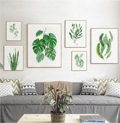 Green Plants Leaf Watercolor Poster Nordic Minimalist Canvas Wall Art Pictures Simple Art Painting For Living Room Home Decor Leaf Wall Art, Floral Wall Art, Canvas Wall Art, Canvas Paintings, Nature Paintings, Living Room Plants, Living Room Art, House Plants, Modern Fine Art Prints