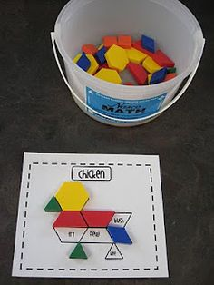 This center is designed as a game to be played in pairs. To play, students grab a pattern board and a tub of pattern blocks. Then, they take turns trying to cover up all of the spaces on their pattern picture with blocks. To cover a space, a student has to say the word on the space AND use it in a sentence correctly. If they can do those two things, they can cover the space.