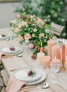 Blush Pink and Greenery Centerpiece // romantic, farm table, pillar candles, arrangement, tablescape, place setting,