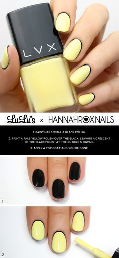 Black and Yellow Nail Tutorial at LuLus.com! #nails #NailDesigns #NailArt
